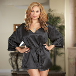Black robe and babydoll - bed jacket