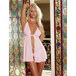 Fetish femme pink babydoll - babydoll and panty set