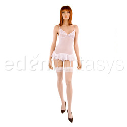 Pleated chemise and thong - gartered chemise and panty set