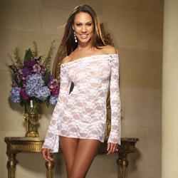 White lace courtesan long sleeve chemise