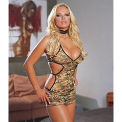 Camouflage dress and thong - gown
