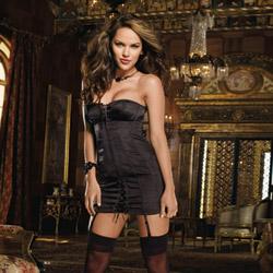 Black corset dress - gartered mini dress