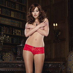 Red boyshort with bow - crotchless panty