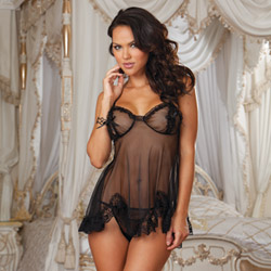 Open cup babydoll and g-string - babydoll and panty set