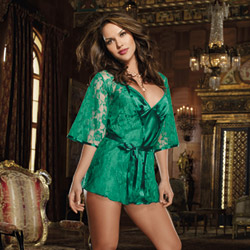 Lace robe and chemise