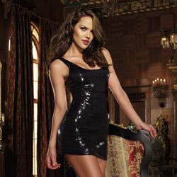 Black sequin dress - mini dress