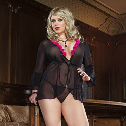Rose accented robe and thong - bed jacket