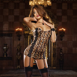 Animalistique leopard corset dress and thong