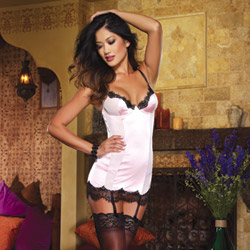 Pink gartered slip and thong - chemise