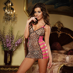 Side strap leopard chemise and thong