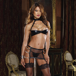 Halter, thong and garter - bra and panty set