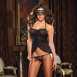 Chemise mask and thong