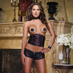Stretch knit waist corset, short and pasties - cinch