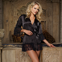 Flirting with desire robe and thong - bed jacket
