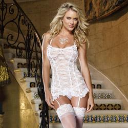 Lovely innocence garter slip and thong - chemise