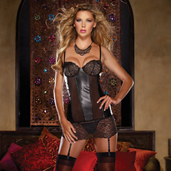 Leather and lace grater slip - chemise