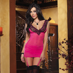 Gartered slip and thong - chemise
