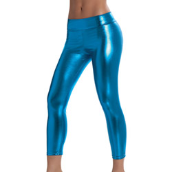 Electric blue metallic leggings