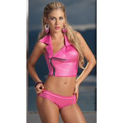 Fuchsia zipper detail two piece set - bra and panty set