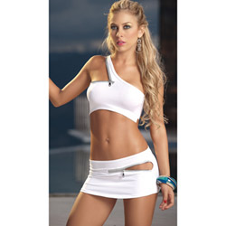 White zipper accented top and skirt - camisole