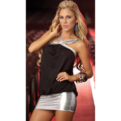 Black cowl neck dress - mini dress