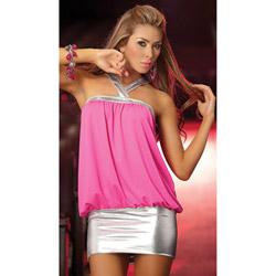 Hot pink cowl neck dress - mini dress