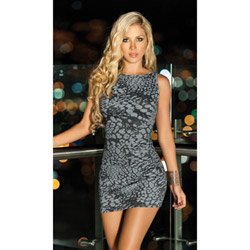 Grey spotted dress - mini dress