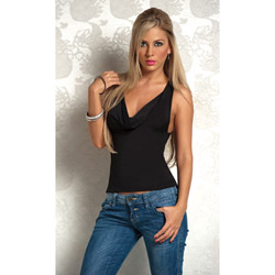 Sexy cowl front o-ring back top - tee
