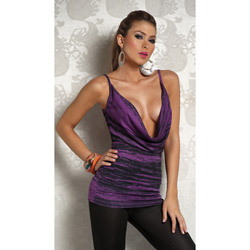 Two tone plunging cowl tank - tee