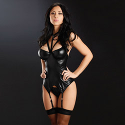 Silver ring bustier with hose