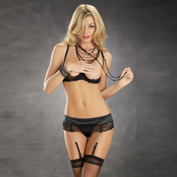 Black jeweled garterbelt set - bra and panty set