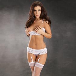 Bridal jeweled garterbelt set - bra and panty set