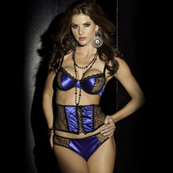 Midnight oasis bra cincher and thong set - bra and panty set