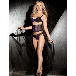 Purple leopard skirt set - bra and panty set