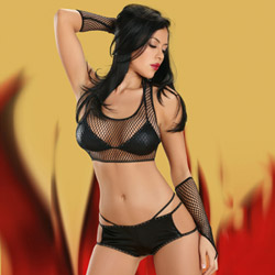 4pc hot pants with gloves set - bra and panty set