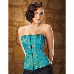 Turquoise front-zip corset - sexy lingerie
