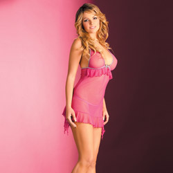 Rose mesh chemise set - chemise and panty set