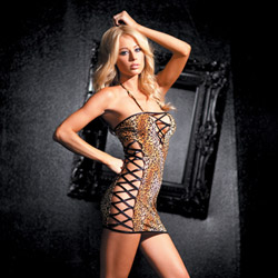 Stretch leopard club dress with criss cross sides