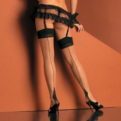 Cuban heel sheer 2 tone thigh high - thigh highs
