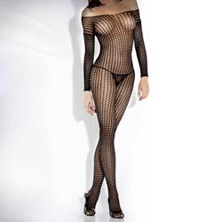 Crochet net long sleeve bodystocking - crotchless bodystocking