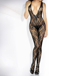 Lace floral deep-v front bodystocking with rhinestone - teddy and stockings set