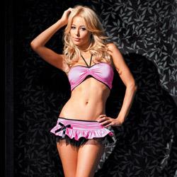 Bandeau ruffle skirt set - bra and panty set