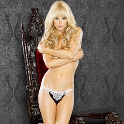 Crotchless thong with veil - crotchless panty