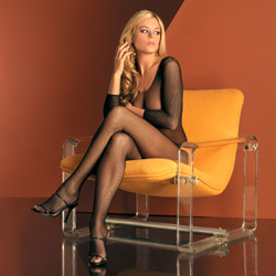 Fishnet seamless body stocking open crotch - bodystockings