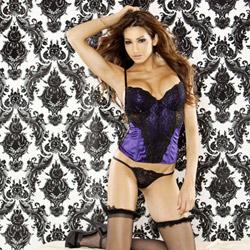 Vintage doll corset & thong purple