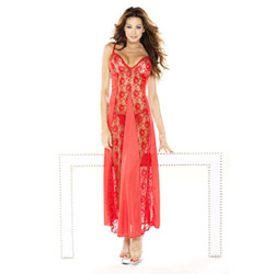 Red lace panel gown & g-string