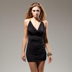 Black cowl neck mini dress
