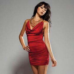 Red cowl neck mini dress