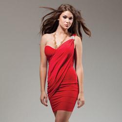 Merkel one shoulder red dress - mini dress
