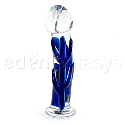 Glass dildo - Mini blue veined pocket rocket - view #1